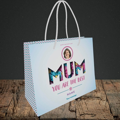 Picture of Mum You Are The Best (flower cut out), Small Landscape Gift Bag