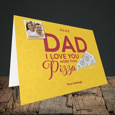 Picture of Love You More Than Pizza, Father's Day Design, Landscape Greetings Card