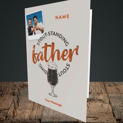 Picture of Stout-standing Father, Father's Day Design, Portrait Greetings Card