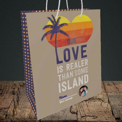 Picture of Our Love Is Realer, Valentine's Design, Medium Portrait Gift Bag