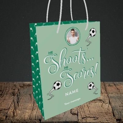 Picture of He Shoots He Scores, Pregnancy Design, Small portrait Gift Bag