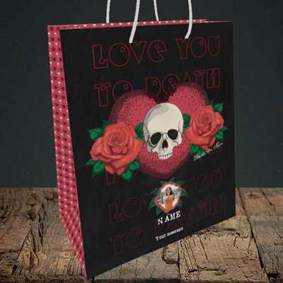 Picture of Love You To Death, Valentine's Design, Medium Portrait Gift Bag