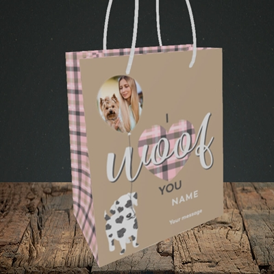 Picture of I Woof You, Valentine's Design, Small Portrait Gift Bag