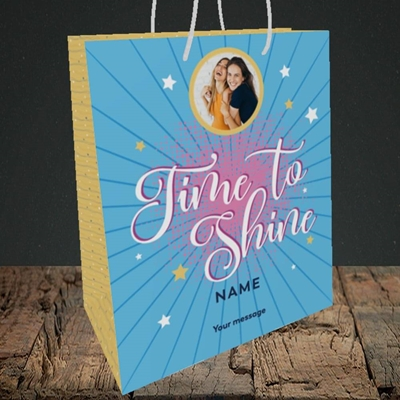 Picture of Time To Shine, Good Luck Design, Medium Portrait Gift Bag