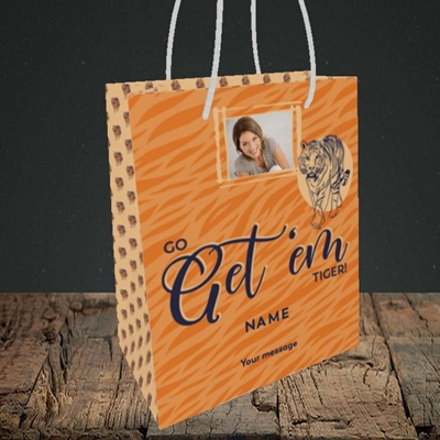 Picture of Get 'em Tiger, Good Luck Design, Small Portrait Gift Bag