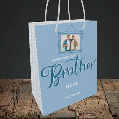 Picture of Brother, Birthday Design, Small portrait Gift Bag