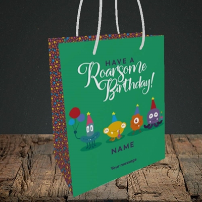 Picture of Roarsome(Without Photo), Birthday Design, Small Portrait Gift Bag