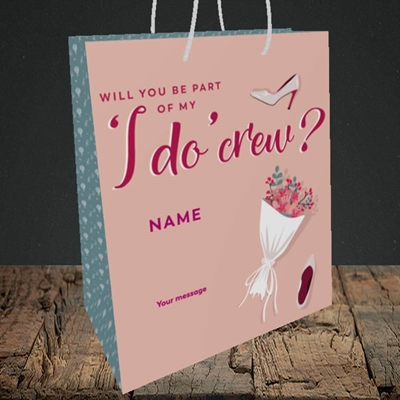 Picture of I Do Crew(Without Photo), Wedding Design, Medium Portrait Gift Bag