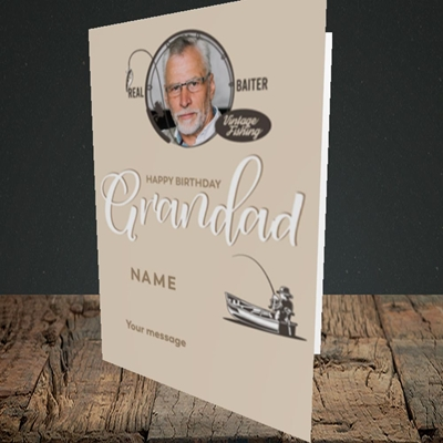Picture of Grandad Fishing, Birthday Design, Portrait Greetings Card