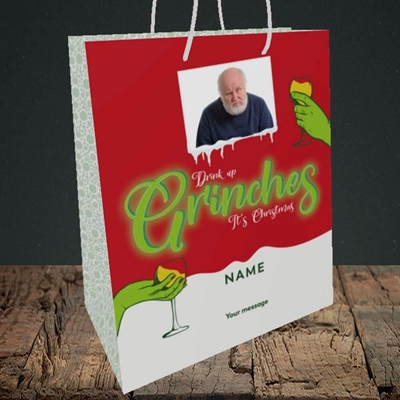 Picture of Drink Up Grinches, Christmas Design, Medium Portrait Gift Bag