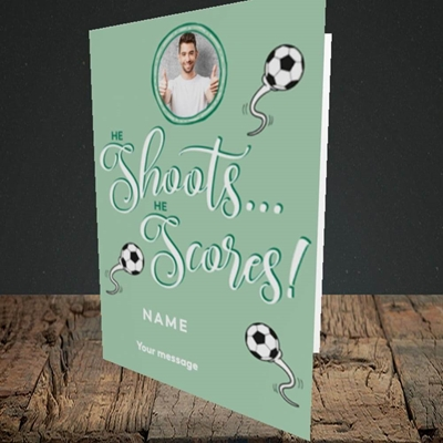 Picture of He Shoots He Scores, Pregnancy Design, Portrait Greetings Card