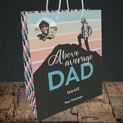 Picture of Above Average Dad, Father's Day Design, Medium Portrait Gift Bag