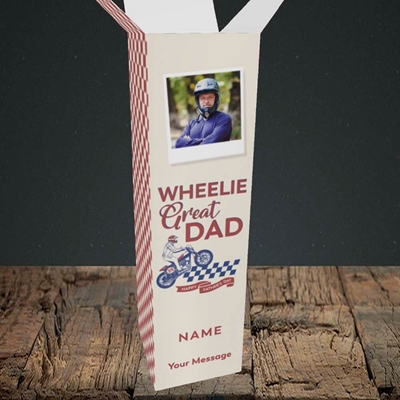 Picture of Wheelie Great Dad, Father's Day Design, Upright Bottle Box