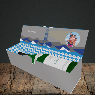 Picture of Lighthouse, Father's Day Design, Lay down Bottle Box