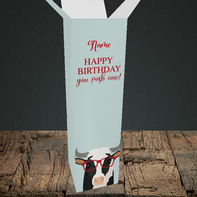 Picture of Cow, (Without Photo) Birthday Design, Upright Bottle Box
