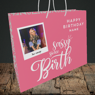 Picture of Sassy, Birthday Design, Medium Landscape Gift Bag
