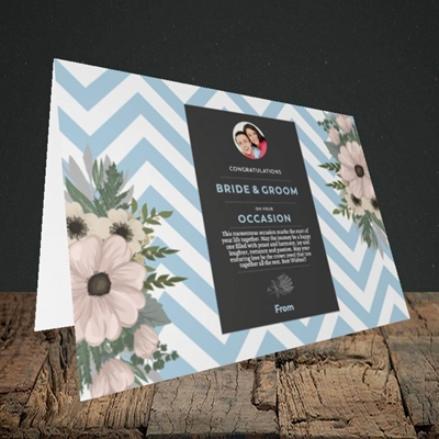 Picture of Zigzag Blue B&G, Wedding Design, Landscape Greetings Card