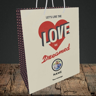 Picture of Let's Live The Love, Valentine's Design, Medium Portrait Gift Bag