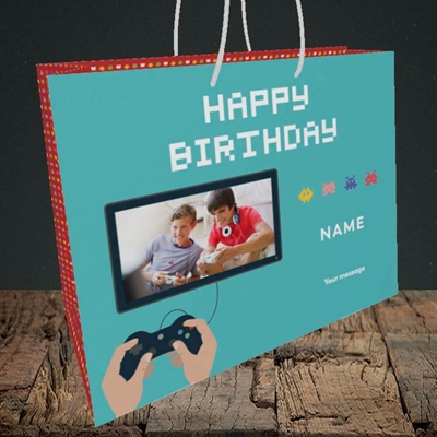 Picture of Space Invaders, Birthday Design, Medium Landscape Gift Bag