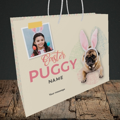 Picture of Easter Puggy, Easter Design, Medium Landscape Gift Bag