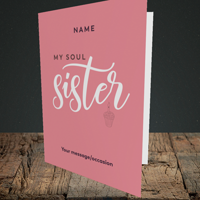 Picture of Soul Sister, (Without Photo) Birthday Design, Portrait Greetings Card