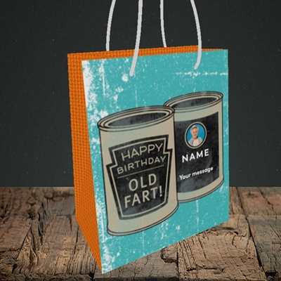 Picture of Tin Of Old Fart, Birthday Design, Small portrait Gift Bag