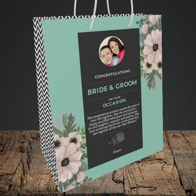 Picture of Flowers Green B&G, Wedding Design, Medium Portrait Gift Bag
