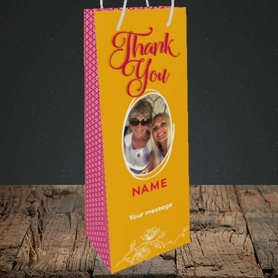 Picture of Flowers, Thank You Design, Bottle Bag
