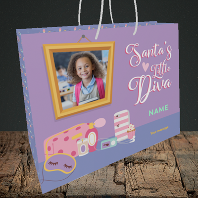 Picture of Little Diva, Christmas Design, Medium Landscape Gift Bag