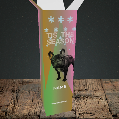 Picture of Tis The Frenchie(Without Photo), Christmas Design, Upright Bottle Box