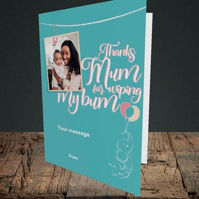 Picture of Wiping My Bum, Mother's Day Design, Portrait Greetings Card