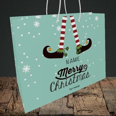 Picture of Elf, (Without Photo) Christmas Design, Medium Landscape Gift Bag