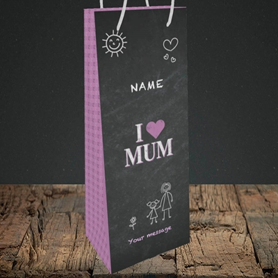Picture of I Love Mum (Chalk Board),(Without Photo), Bottle Bag