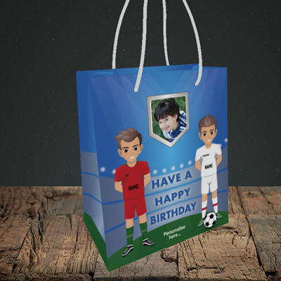 Picture of Football, Birthday Design, Small Portrait Gift Bag