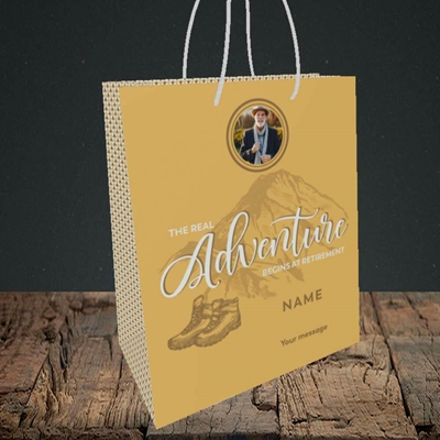 Picture of Adventure Begins, Retirement Design, Small Portrait Gift Bag