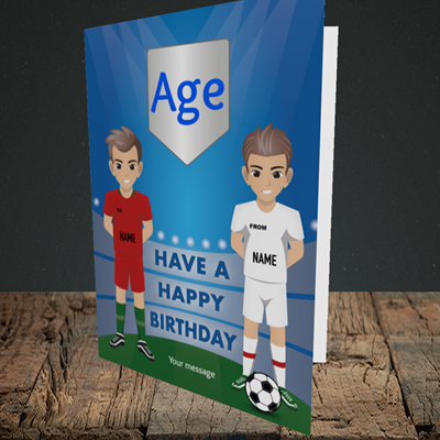 Picture of Football, (Without Photo and editable age) Birthday Design, Portrait Greetings Card