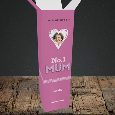 Picture of No.1 Mum (In Lights), Mother's Day Design, Upright Bottle Box