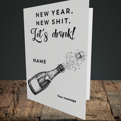 Picture of Let's Drink(Without Photo), New Year Design, Portrait Greetings Card