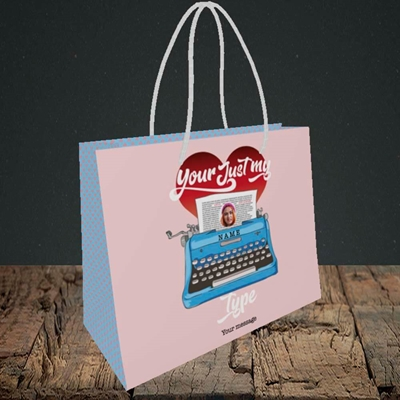 Picture of Just My Type, Valentine's Design, Small Landscape Gift Bag
