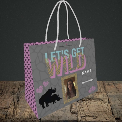 Picture of Let's Get Wild, Valentine's Design, Small Landscape Gift Bag