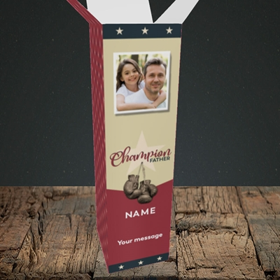 Picture of Champion Father, Father's Day Design, Upright Bottle Box