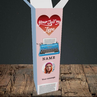 Picture of Just My Type, Valentine's Design, Upright Bottle Box
