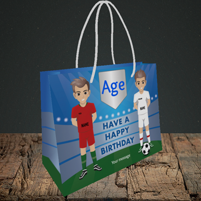 Picture of Football, (Without Photo and editable age) Birthday Design, Small Landscape Gift Bag