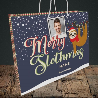 Picture of Merry Slothmas, Christmas Design, Medium Landscape Gift Bag