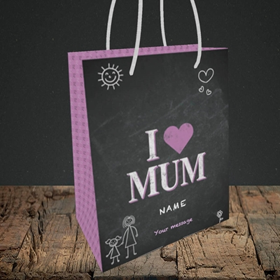 Picture of I Love Mum (Chalk Board),(Without Photo), Small Portrait Gift Bag