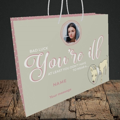 Picture of Neck Cone, Get Well Soon Design, Medium Landscape Gift Bag