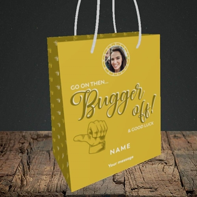 Picture of Bugger Off Then, Leaving Design, Small Portrait Gift Bag