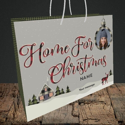 Picture of Home For Christmas, Christmas Design, Medium Landscape Gift Bag
