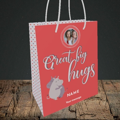Picture of Big Hugs, Thinking of You Design, Small Portrait Gift Bag