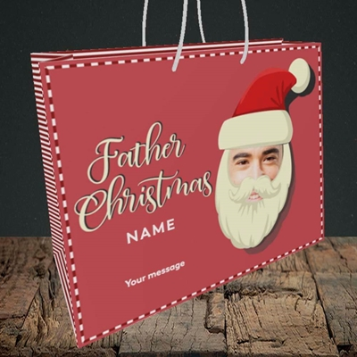 Picture of Father Christmas Mask, Christmas Design, Medium Landscape Gift Bag